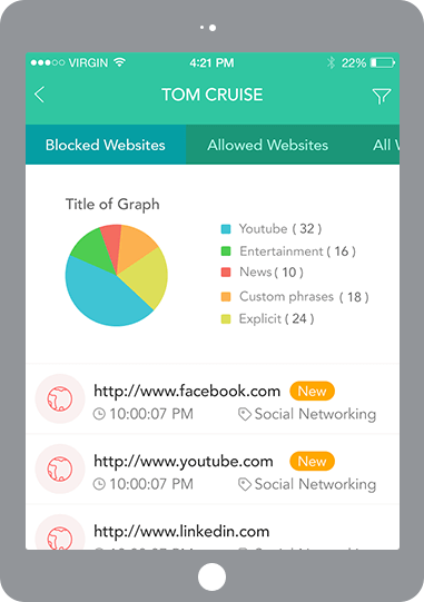 screenshot of parental controls app