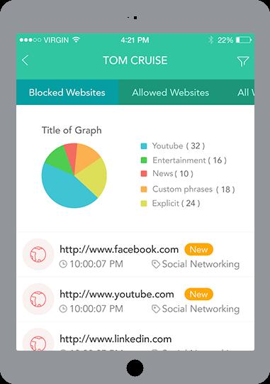screenshot of parental controls app