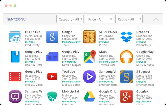 screenshot of app monitor